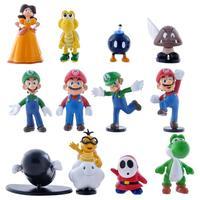 "Wholesale Retail Free Shipping Plastic Super Mario Bros 1-2.5"" 12PCS/SET Action figures Toys PVC Doll Gifts"