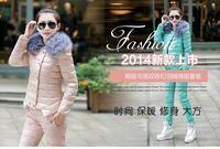 Free shipping 2014 new winter women short fur collar coat lady Korean Slim thin military equipment down padded suit tide coat