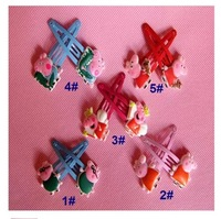 2014 New 15pair 30pcs/lots Peppa Pig Children Headwear Side clip Animated cartoon Headwear Family suits hair clips
