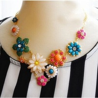 European and American fashion sweet women's high-end color flowers clavicle necklace fluorescent colors