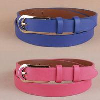 Newest Free shipping 2014 popular european fashion cummerbund men gold  PU leather tieclasps thin strap waist belt female women