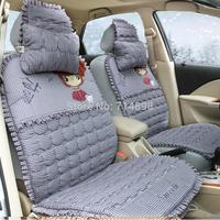 lovely cartoon warmer soft car seat cushion protect cushion 5seat cushions car inner accessory car product winter seat cushion