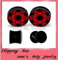 Black uv flesh tunnel plugs flower logo ear expander tragus ear body jewelry mix4-16mm 240pcs/lot wedding gauge piercing
