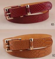 Free shipping 2014 new fashion crocodile punk thin waist belt trench female decorate genuine leather strap buckle women animal