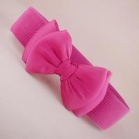 Free shipping 2014 new popular trench lovely silks and satins large bow fashion cummerbund wide women elastic waist belt female