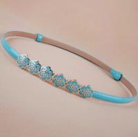 Newest Free shipping 2014 new popular rose flower enamel buckle thin leather strap belt fashion waist belt women adjust female