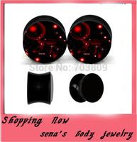 Acrylic uv galaxy logo ear plug gauge expander black flesh tunnel body jewelry mix4-16mm 240pcs/lot ear stretcher wholesale