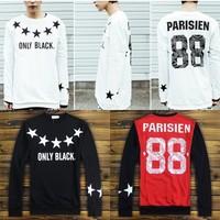 Fashion 2014 winter hoodies new men/women stars sweatshirt long sleeve shirts print PARISIEN 88 cool streetwear hiphop sweater