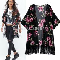 Free shipping 2014 new autumn European/American printed flowers tassel cardigan kimono jacket WC053