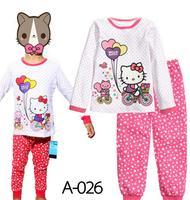 Hot Sale Classic Hello Kitty On The Bike Girls Cartoon Character Comic Print Pyjama Nightwear Loungewear Homedress