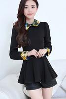 Fast/Free Shipping New Fashion All-match Autumn Blusas Femininas 2014 Casual Print Patchwork Blouse Women Blouses B8267