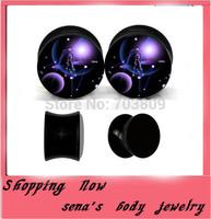 2014 new style galaxy logo piercing body jewelry acrylic flesh tunnel ear gauge mix4-16mm 240pcs/lot double flared ear stretcher