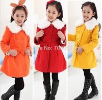 Retail  2014 winter new thick warm children outwear fur collar  girls  jacket coat  in stock