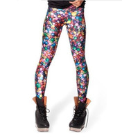 Free shipping Spring 2014 Plus Size Harajuku Cool Punk Candy Galaxy Print Milk Digital Sport Leggings Gym Fitness Leggins L109