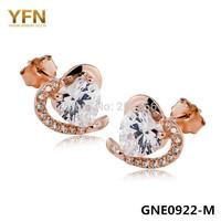 GNE0922 Free Shipping Genuine 925 Sterling Silver Earrings Fashion Women Jewelry CZ Crystal Heart Stud Earrings Christmas Sale