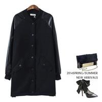 Leather sleeves solid long woolen coat jacket 2014 NEW women jacket autumn overcoat  women's warm winter coat casacos femininos