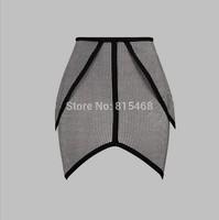 Top Quality 2014 High Quality Fashion women Plaid High-waist Ruffles bodycon celebrity evening party HL bandage skirt