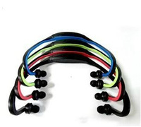 Free/ Drop Shipping Cheapest neckband sports mp3 headset Black red blue green pink