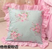 Korea style cotton Princess rural sweet pink ruffled hem pillow case home garden bed set cushion cover/C7131 Free shipping