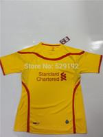 Top quality soccer jersey 1415 away yellow jersey away jersey customs Gerrard Suarez godsend Sturridge