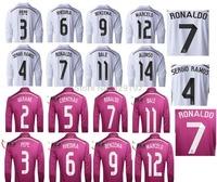 New! Real Madrid home 14/15 long sleeve shirts and Thailand quality 1415 Real Madrid Ronaldo sets, free custom