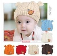 free shipping 2014 New Baby Hats Cartoon Label Bear Ear Cap Fashion Autumn Winter Hat Children Hat Girls Boys Retail