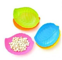 Multicolor leaves shaped plastic fruit bowl candy plate melon seeds snack plate  free shipping
