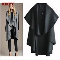 New 2014 Hot Selling Woolen Women Coat Long Section Open Stitch Womens Coats Wrap Scarves Wool Wcoats Free Shipping NZ016