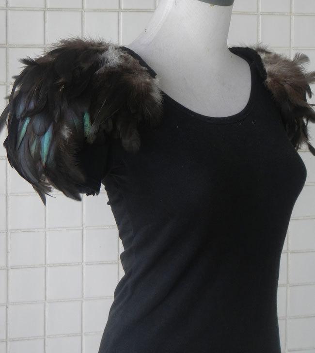 Free shipping, handmade feather shoulder epaulette #FSP14008(China (Mainland))