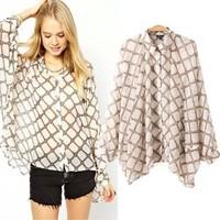 2014 New arrival Ladies' elegant metal chain print loose blouse vintage turn-down collar long sleeve OL shirt casual brand tops