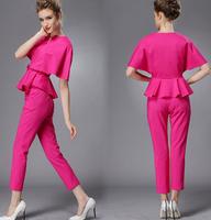 Fast/Free Shipping Fashion European Batwing Sleeve Cape Blusas Femininas 2014 Two Piece Set Casual Blouse Women Blouses B2675