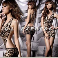 2014 Wild Sexy Leopard Sleepwear Backless Chain Nightwear Babydoll Dress +G-String