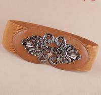 Newest Free shipping 2014 new popular Fashion punk cutout gunmetal buckle elastic waist belt strape wide cummerbund trench women
