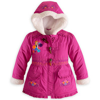 1 pc retail 2014 New children outerwear, frozen warm hooded coats,kids jacket,winter baby clothing,2 colors,free shipping