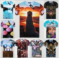 HOT!!!2014 newest style 3D tshirt men high quality cartoon/building/anima printed cotton t-shirt  S/M/L/XL free shipping