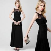 Womens Sexy Black Dress Ladies Elegant  Lace Dress Sleeveless Black Sundress for Party Dress Wholesale