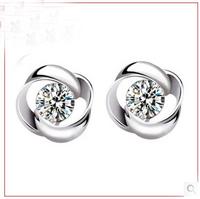 women love heart jewelry vintage cute elegant  high grade cubic zirconia 925 sterling silver earring #sky-10