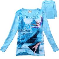 Kids Girls New Autumn Frozen Snow Sister Princess Cotton Long-sleeved Cartoon Child  t-shirt