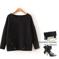 Solid Double zipper waves batwing pullovers women sweatshirts long womens jogging suits casual sweatshirt woman sport suit gift