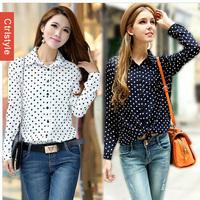 Wholesale/Retail Ctrlstyle Polka Dot Long Sleeve Turn-down Collar Women Shirt Vestidos Chiffon Women Blouse+Free Shipping