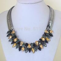 Hot Sale Good Pirce Fast Shipment Trendy Handmade Colorized Bead Cluster Knit Braid Twist Hotsell Chunky NecklaceKK-SC690
