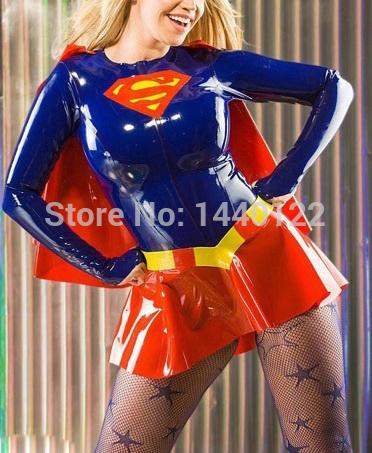 Fashion women 2015 Wet look sexy fetish Latex catsuit clubwear costume rubber superwoman dress uniform plus size hot sale(China (Mainland))