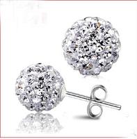 new 2014 arrival vintage elegant 6mm 8mm10mm 12mm crystal Shambhala Ball jewelry earrings 925 sterling silver earring #sky-08