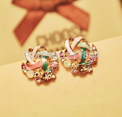 E763 hot fashion Wool ladies imitation diamond stud earrings temperament Korea high-end jewelry(China (Mainland))
