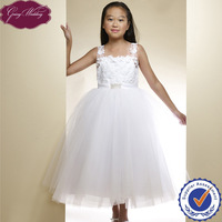 Goingwedding Lace Top Tulle Skirt Straps Beautiful Vintage Lace Flower Girl Dress 2014 HT082