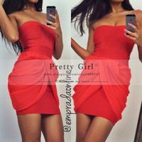 2015 Vestido De Festa Curto Red Pleat Sheath Short Party Dress Scoop Off Shoulder Sexy Mini Cocktail Dress Hottest Dress