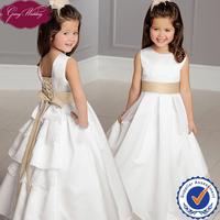 Goingwedding Floor Length Tow Color Satin Layered Back Lovely Princess Flower Girl Dress 2014 With Sash HT080