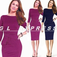 2014 New Fashion Womens Slim Tunic Business Work Office Party Pencil Sheath Dress