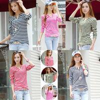 Korean Women's Striped Slim Long Sleeve casual Career V-Neck Tops Blouse T-shirt cloth008