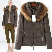 2014 New arrival Ladies' elegant Duvet coat short jacket hair collar hooded  long-sleeve Slim thick fashion down jacket